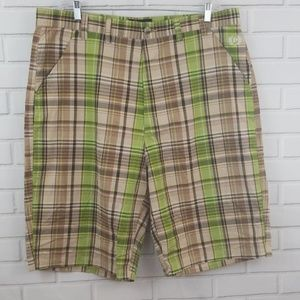 Phat Farm Plaid Cotton Flat Front Shorts